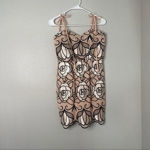 Gianni Bini Metallic Rose Tie Strap Mini Dress